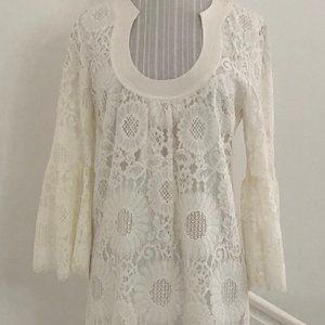 TRINA TURK Sheer Lace 3/4 Sleeve Shift Dress